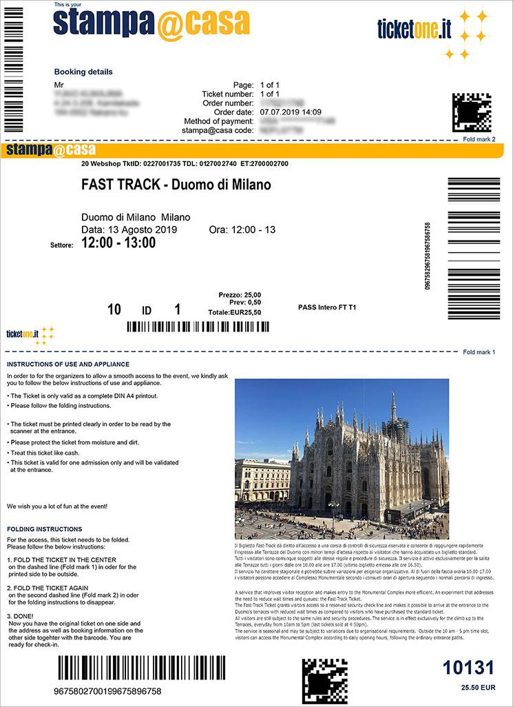 ミラノ ドゥオーモ オンラインチケット(FAST TRACK PASS)