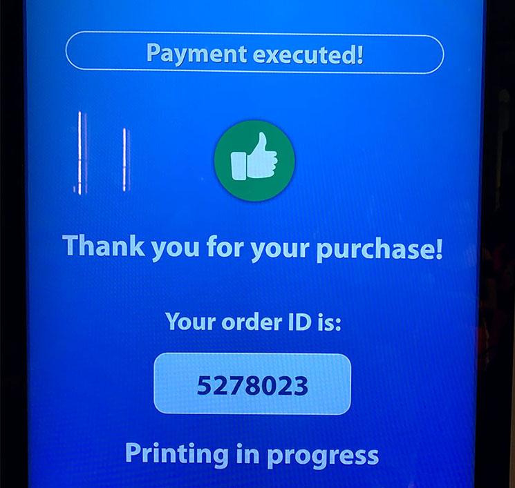 ミラノ ドゥオーモ 自動券売機 支払い完了画面