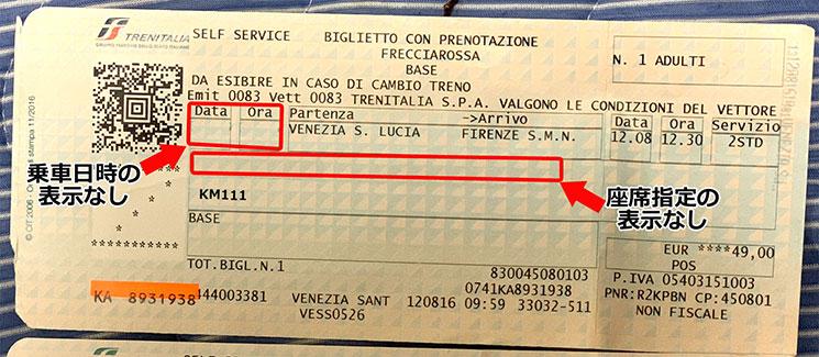 イタリア国鉄 打刻が必要な乗車チケットの例
