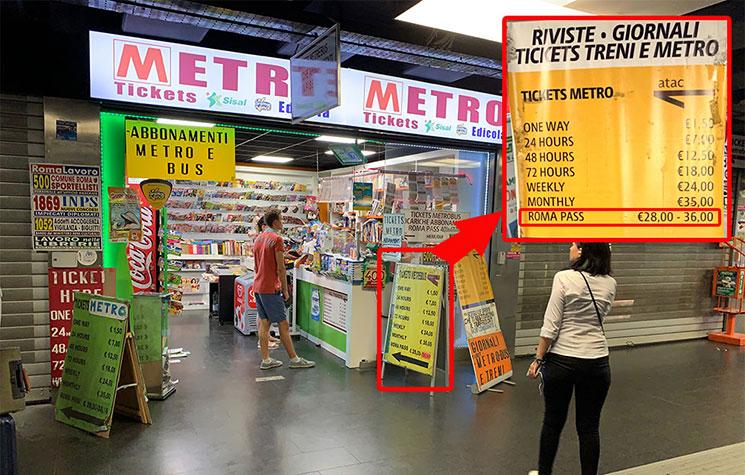 地下鉄 テルミニ駅構内のローマパスの販売所