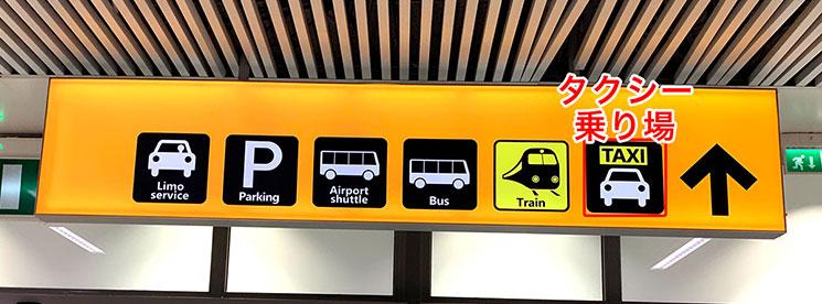 フィウミチーノ空港のタクシー乗り場への案内板