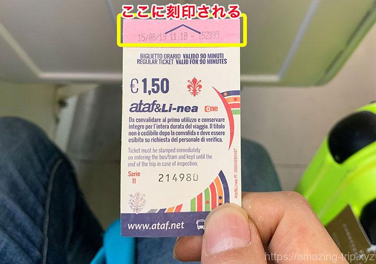 トラム 刻印完了後の乗車チケット