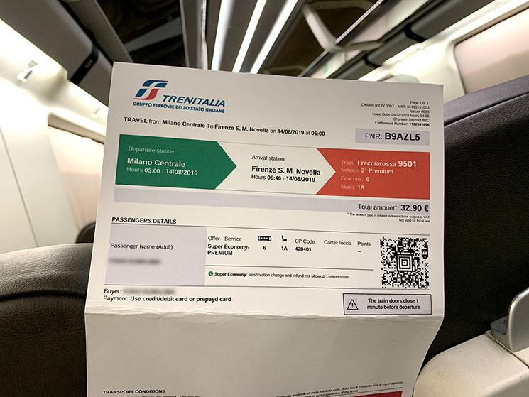 トレニタリアの乗車チケット