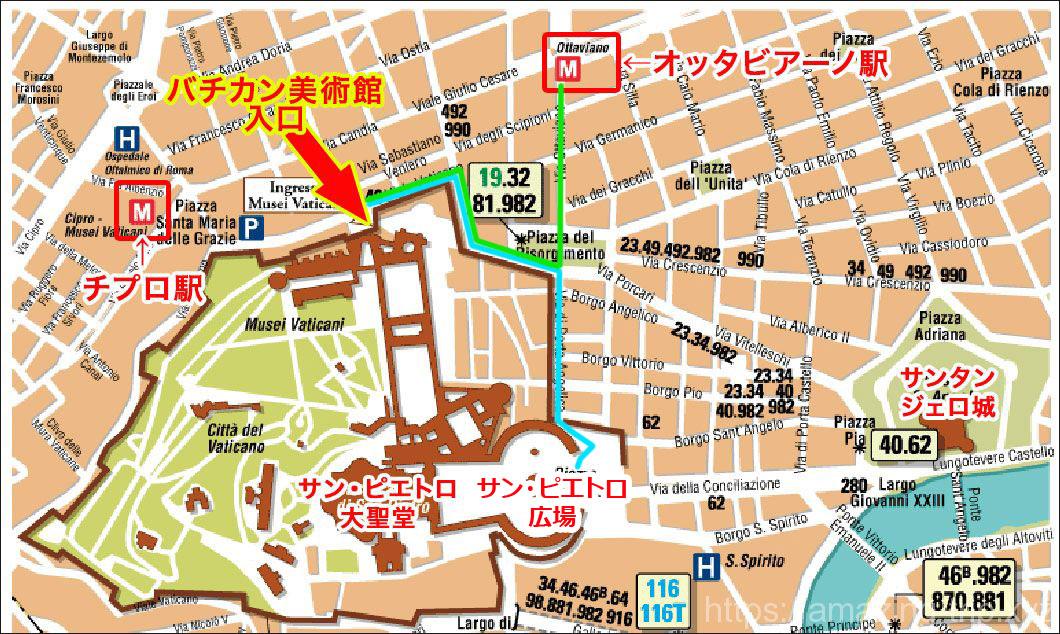 バチカン美術館周辺マップ