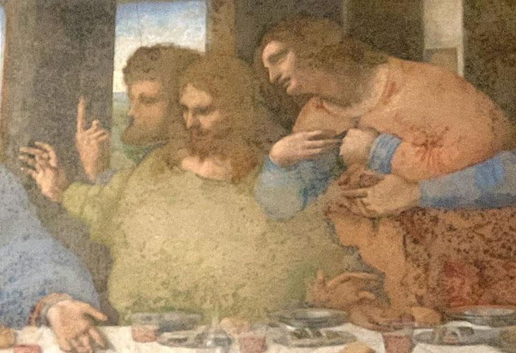 「最後の晩餐」の壁画の一部分