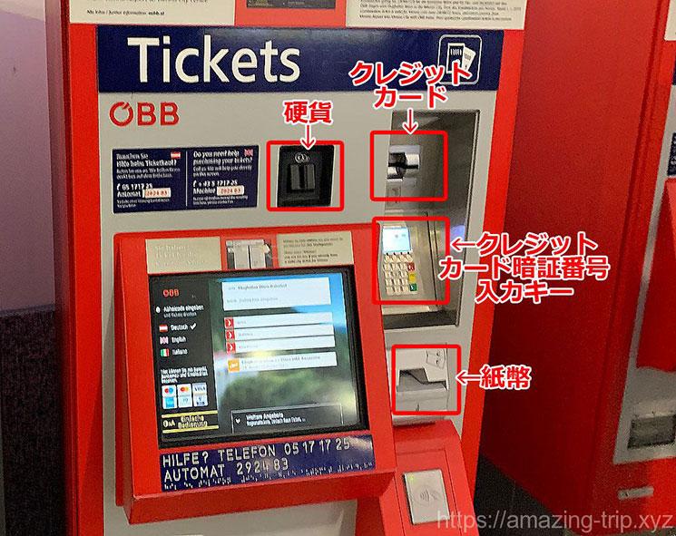 ÖBBの自動券売機のパーツ説明画像