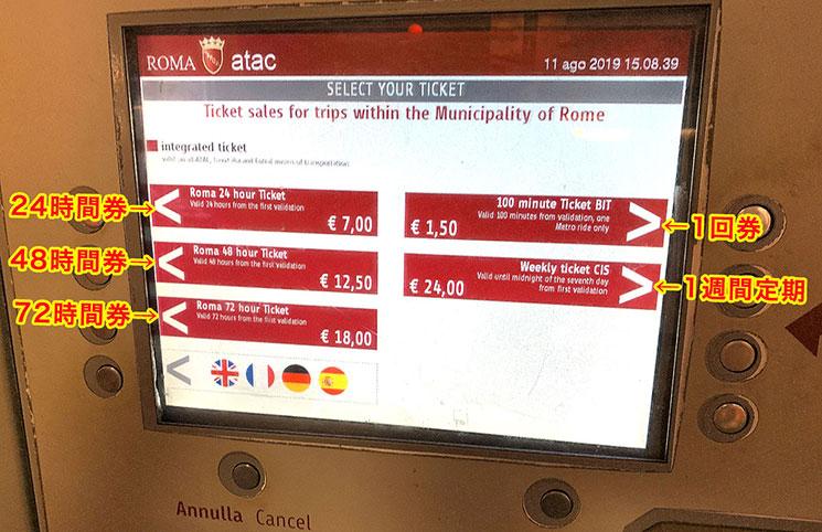 自動券売機のモニター チケット・言語選択画面