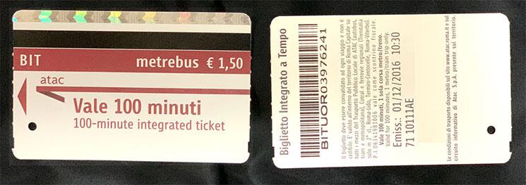 ローマ 地下鉄の乗車チケット