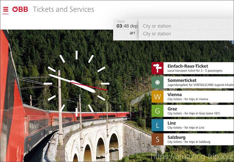 OBBの乗車チケット予約ページ