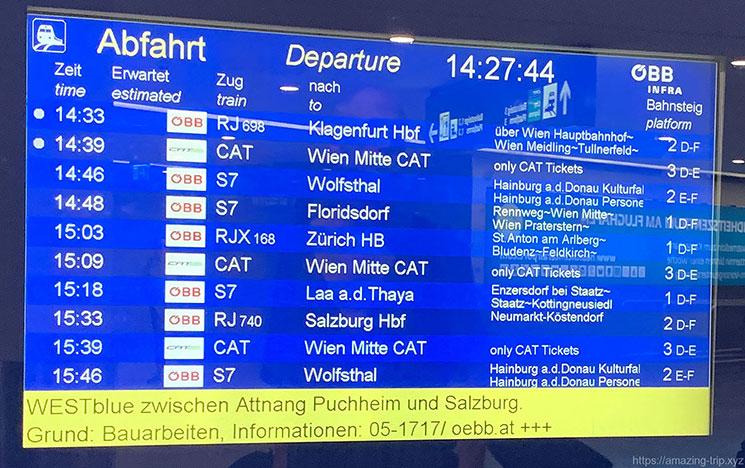 ウィーン空港 OBBの電光掲示板