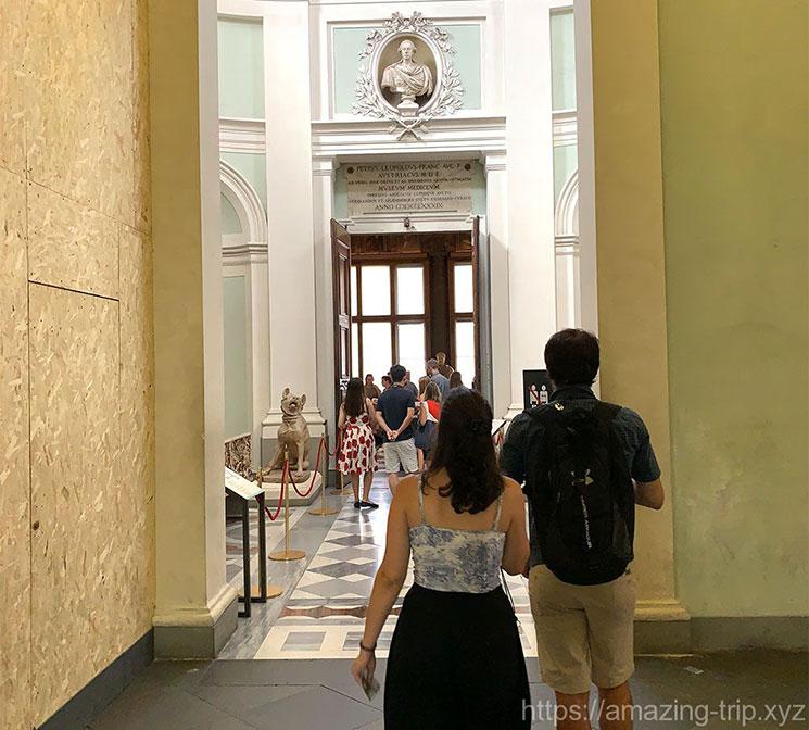 ウフィツィ美術館3階 見学エリアへの順路