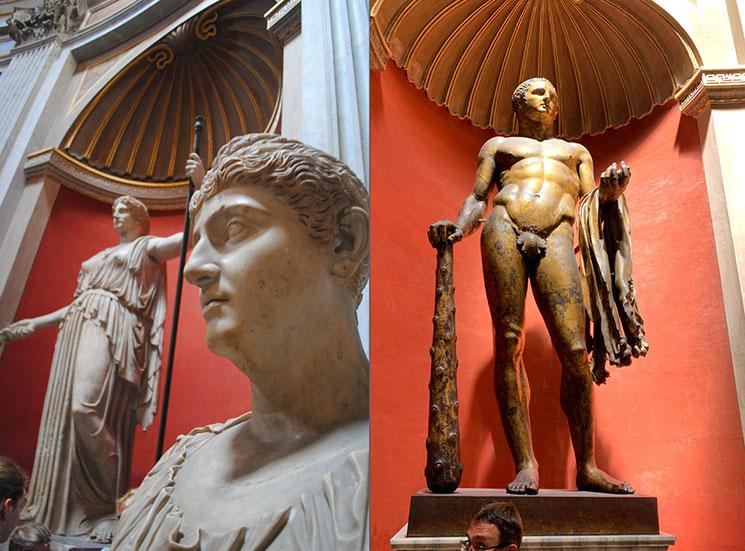 円形の間の胸像と彫像