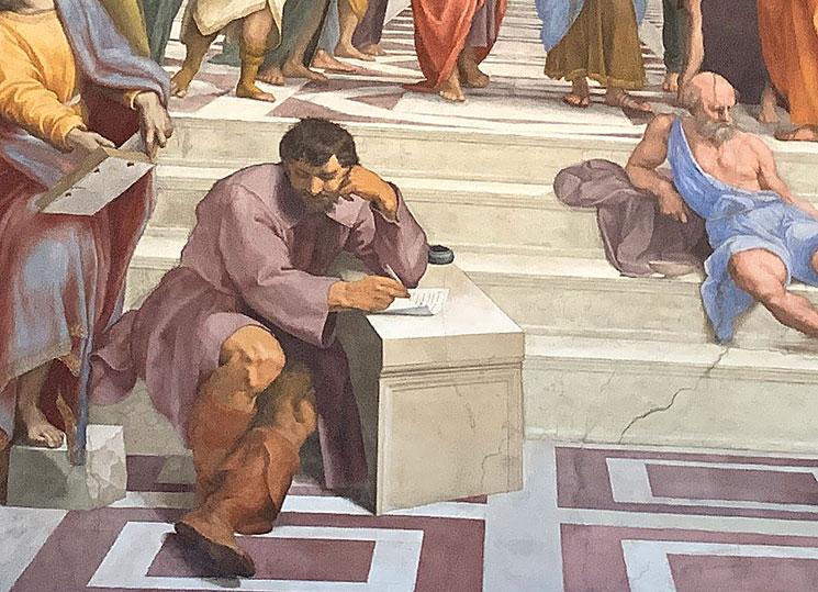 アテナの学堂内に描かれている 「ミケランジェロ」