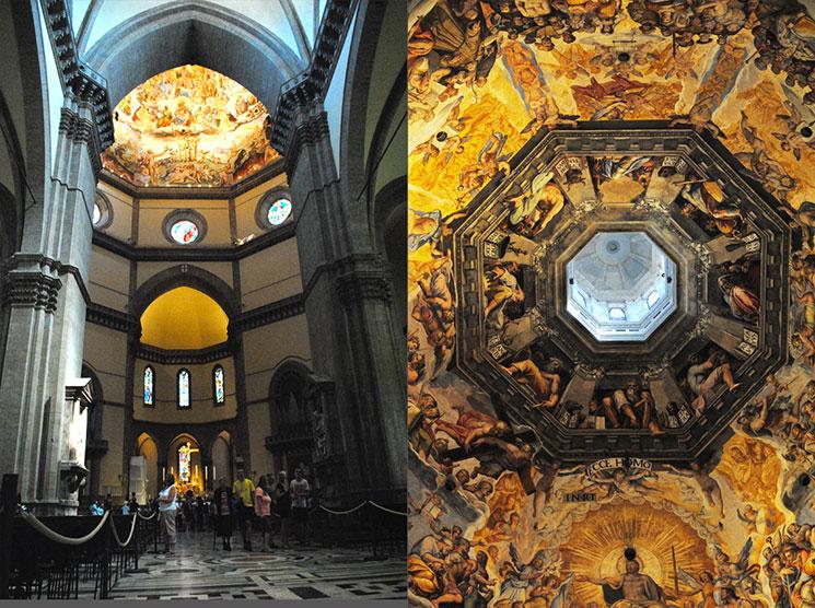 ドゥオーモ大聖堂内部の景観と天井画「最後の審判」