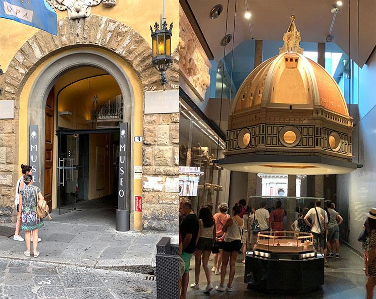 ドゥオーモ付属美術館の入口とドゥオーモの模型