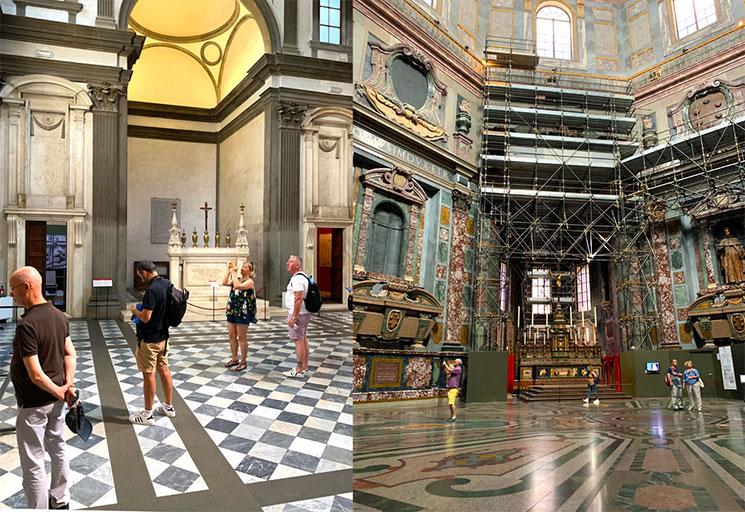 新聖具室と君主の礼拝堂内部の景観