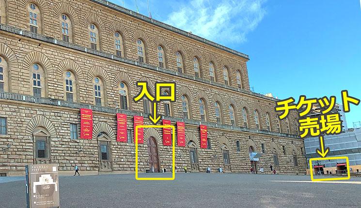 ピッティ宮殿のチケット売場と入口