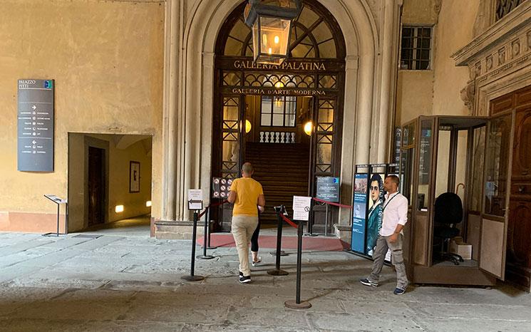 ピッティ宮殿 パラティーナ美術館の入口