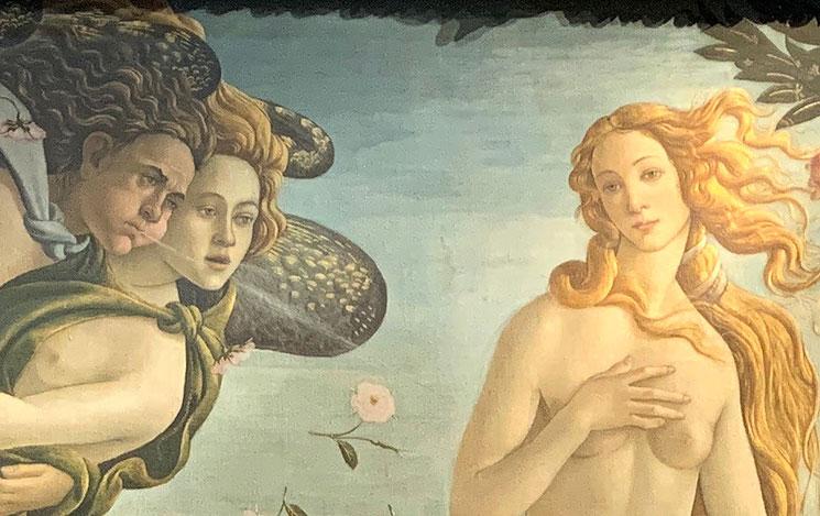 「ヴィーナスの誕生」ヴィーナスと祝福の風を吹きかけるゼヒュロス