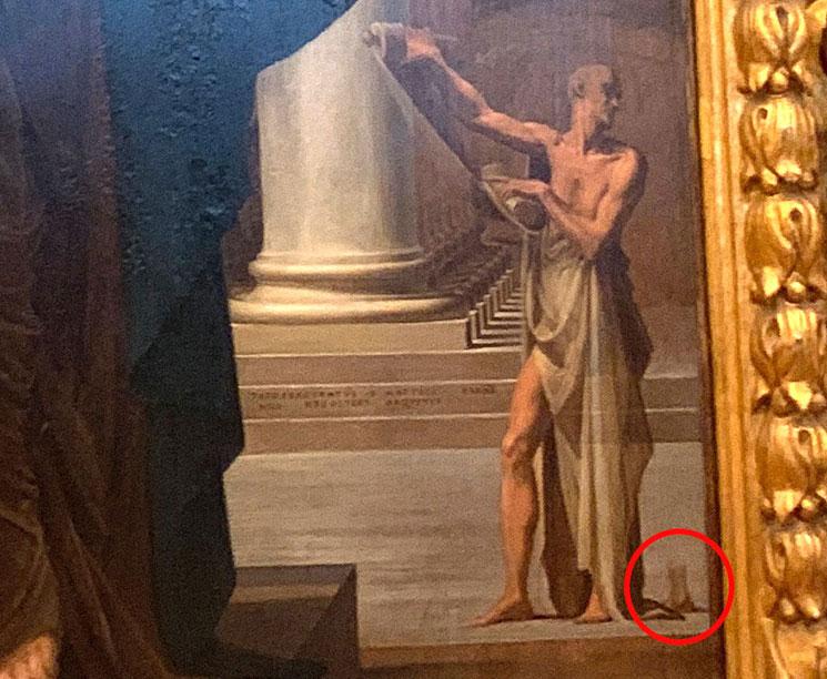 「長い首の聖母」書きかけの足