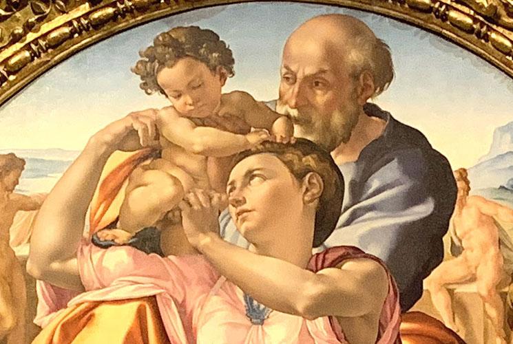 聖家族 イエスをヨゼフから受け取る聖母マリア