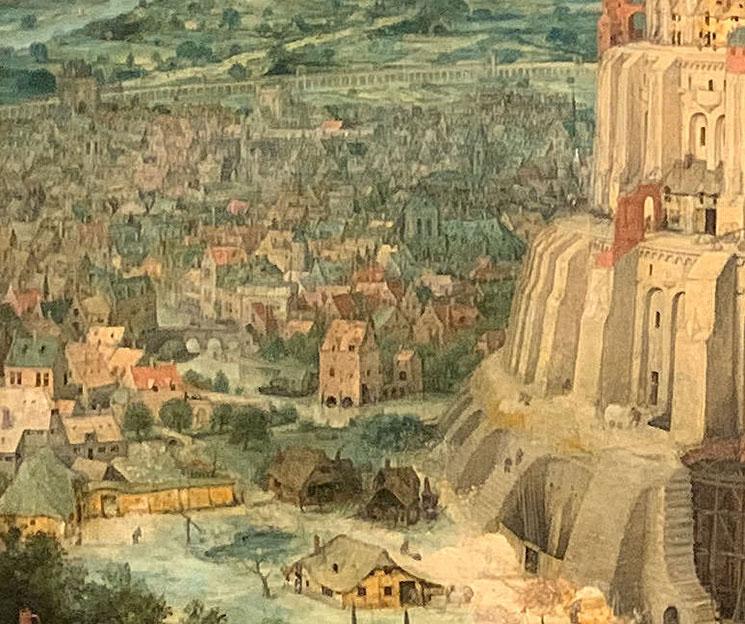 ブリューゲル作 バベルの塔の一部分 アントワープの町並み