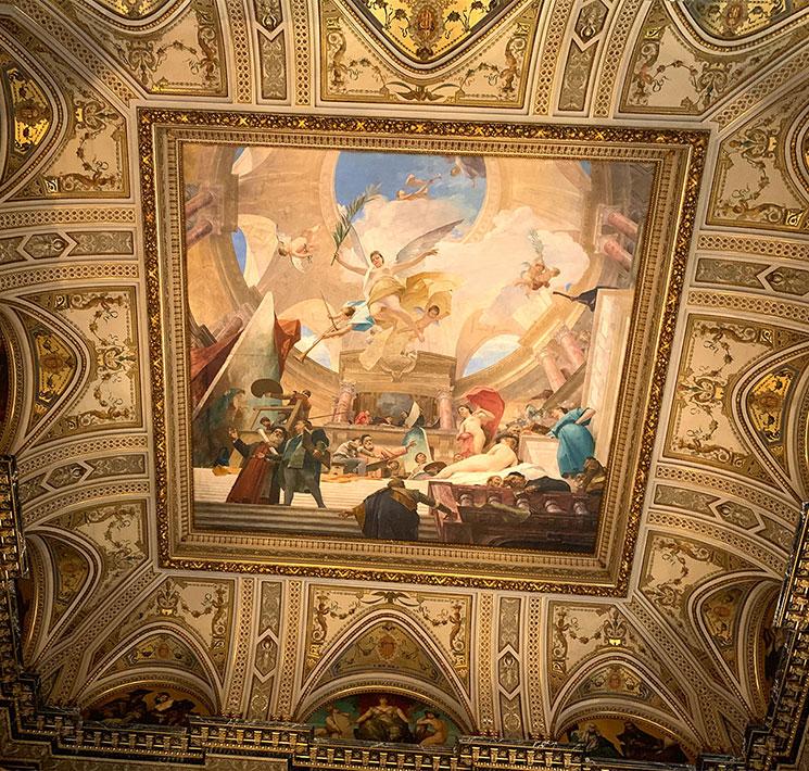 ミハーイ・ムンカーチ作のフレスコ画「ルネサンスの賛歌」