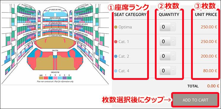 オペラ・ガルニエの座席表とチケット枚数の選択項目
