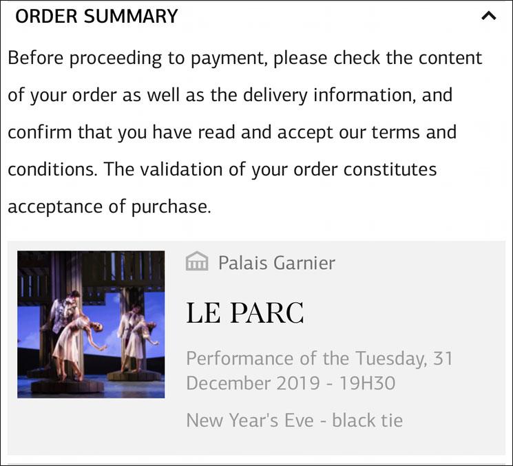 オペラ・ガルニエ 公演チケットの予約内容確認ページ