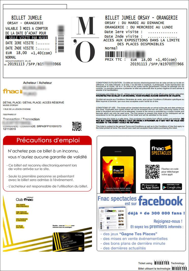 オルセー美術館のチケット(M'Oでのオンライン予約時)