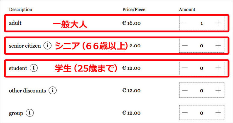 美術史美術館の予約サイト チケットの種類と枚数の選択ページ