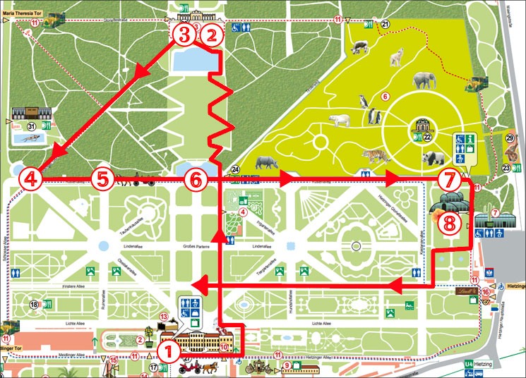 シェーンブルン宮殿敷地の地図とルート