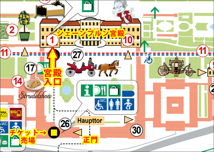 シェーンブルン宮殿の地図