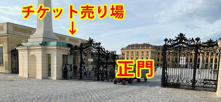 シェーンブルン宮殿 正門とチケット売り場