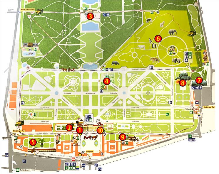 シェーンブルン宮殿 敷地内マップ