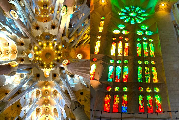 サグラダファミリア教会内部 天井の装飾とステンドグラス