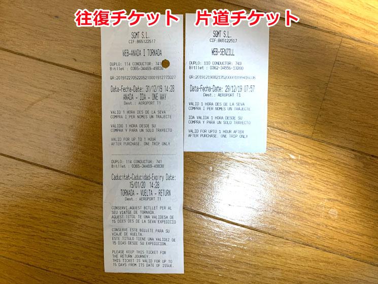 アエロバスの乗車チケット