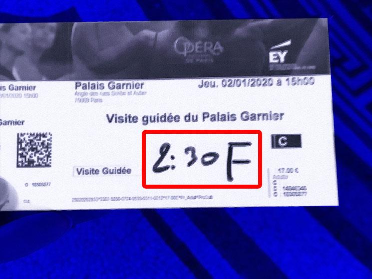 オペラ・ガルニエ ガイドツアーの本チケット