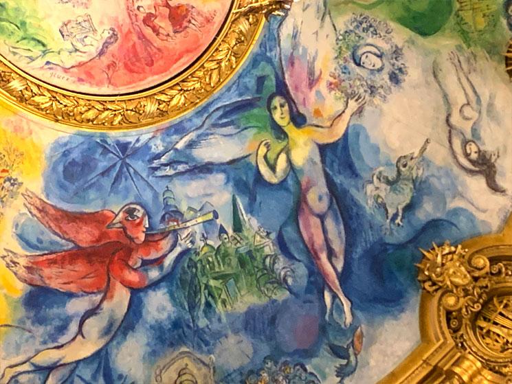 マルク・シャガールの天井画「夢の花束」の「魔笛」