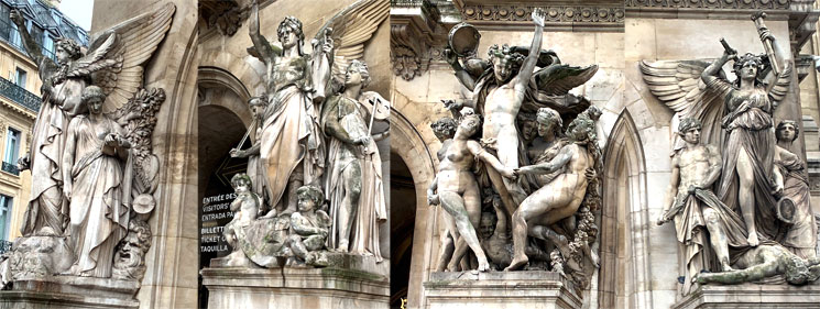 オペラ・ガルニエ南側 アーチ門を飾る彫像群
