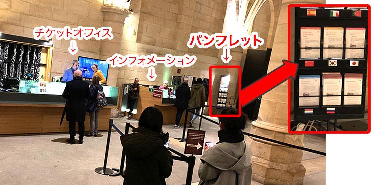 チケットオフィスとパンフレット配布コーナーの位置説明画像