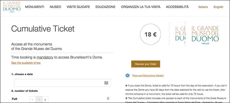 ドゥオーモ クーポラの公式チケット予約サイト