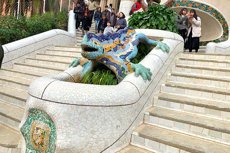 グエル公園 第3の噴水とトカゲ像