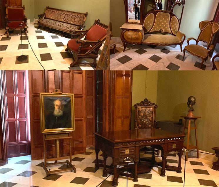 グエル邸2階の家具とグエルの肖像画