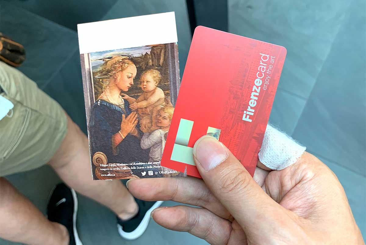 フィレンツェカードとウフィツィ美術館のチケット