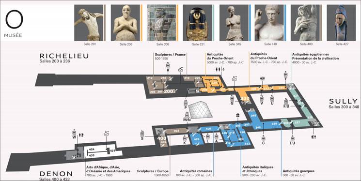 ルーブル美術館 0階フロアマップと主要作品