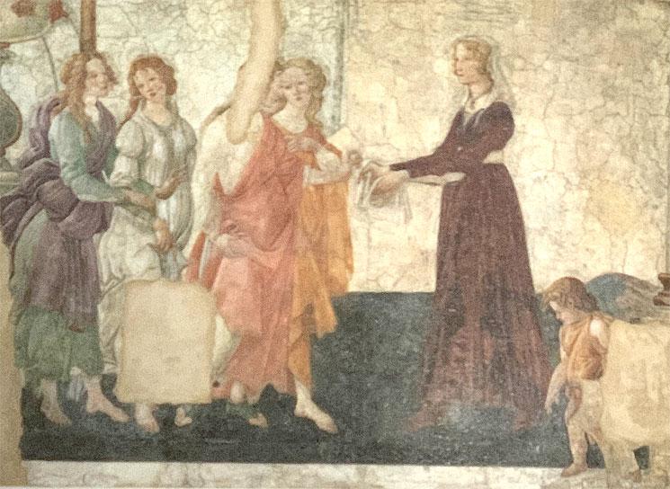 若い婦人に贈り物を捧げるヴィーナスと三美神