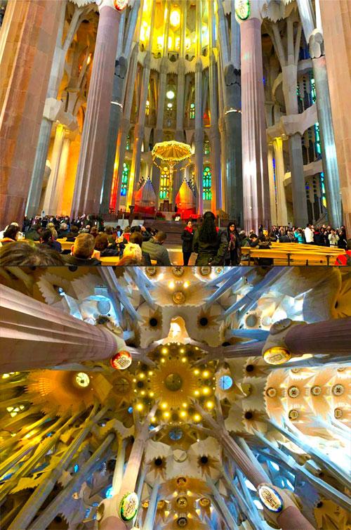 サグラダファミリア内部の柱とステンドグラス