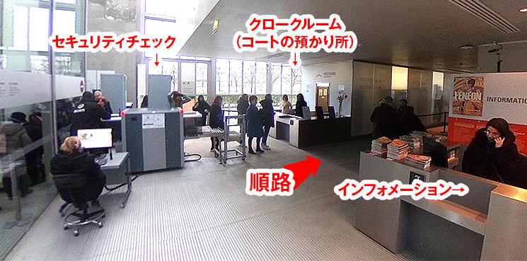 オランジュリー美術館内 セキュリティチェックとインフォメーション
