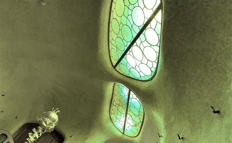 玄関ホール 亀の甲羅をイメージした天窓